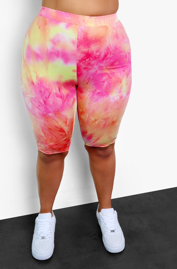 Pink Tie Dye Tank Crop Top Plus Size