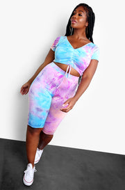 Purple Tie Dye Tank Crop Top Plus Size