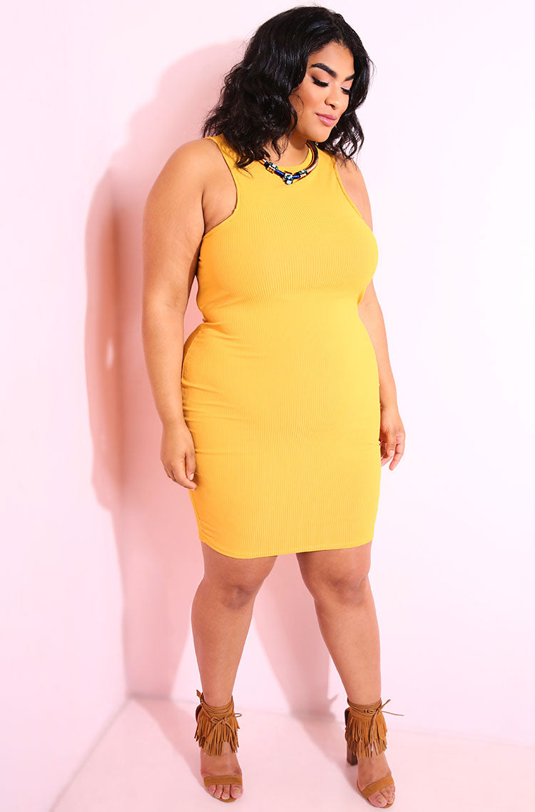 Mustard Knee Length Dress plus sizes