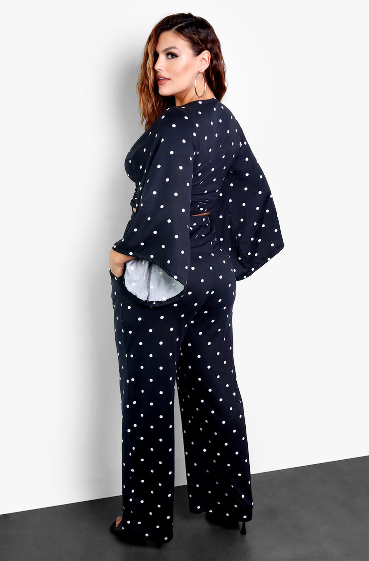 Black Polka Dot Wide Leg Pants Plus Size