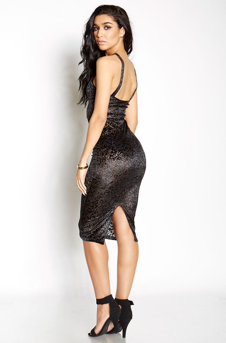 Black Velvet Lace Bodycon Midi Dress plus sizes