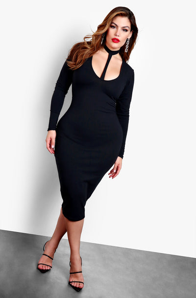 Black Long Sleeve Cut Out Bodycon Midi Dress Plus Sizes