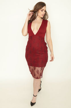 Burgundy Deep Plunge Lace Bodycon Midi Dress plus sizes
