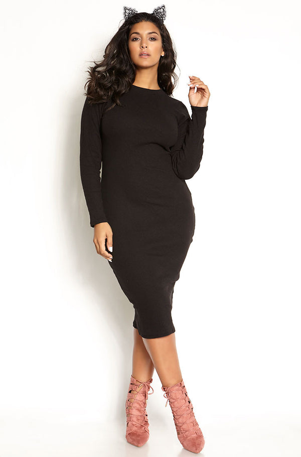 Black Ribbed Long Sleeve Bodycon Midi Dress plus sizes