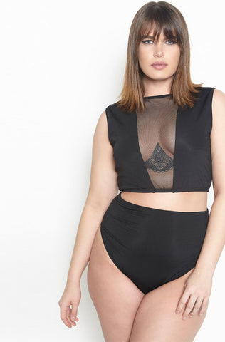 Rebdolls High Neck Printed Crop Tops - Final Sale Clearance