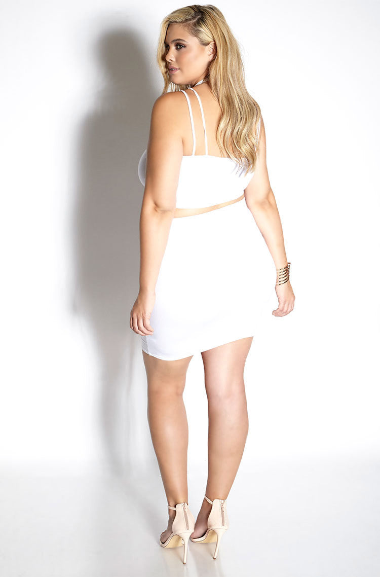 White Cut Out Bodycon Mini Two Piece plus sizes