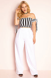 White Pleated Pants Plus Sizes