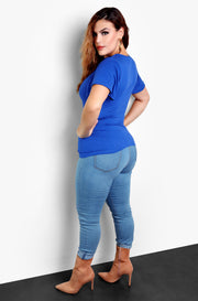 Royal Blue Caged Short Sleeve Plus Size Top