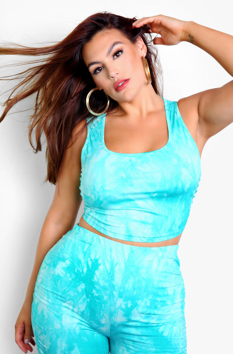 Turquoise Tie Dye Ruched Tank Crop Top Plus Sizes