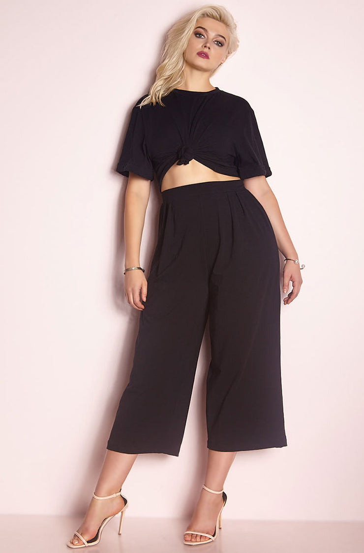 Black Cropped Leg Pant plus sizes