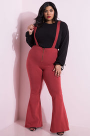 Rust Red Overall Style Bell Bottom Pants Plus Sizes