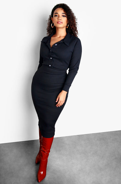 Black Button Up Long Sleeve Bodycon Midi Dress Plus Sizes