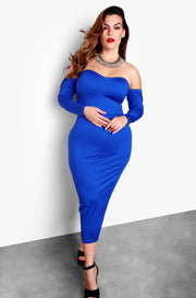 Royal Blue Plus Sizes Cut Out Long Sleeve Bodycon Midi Dress