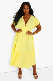 Yellow Plunge Maxi Dress Plus Sizes
