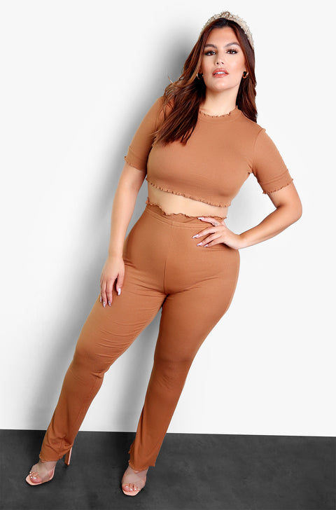 Mocha Flutter Hem Crew Neck Short Sleeve Crop Top Plus Sizes