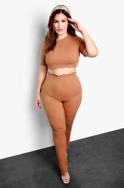 Mocha Flutter Hem Straight Leg Lounge Pants Plus Sizes