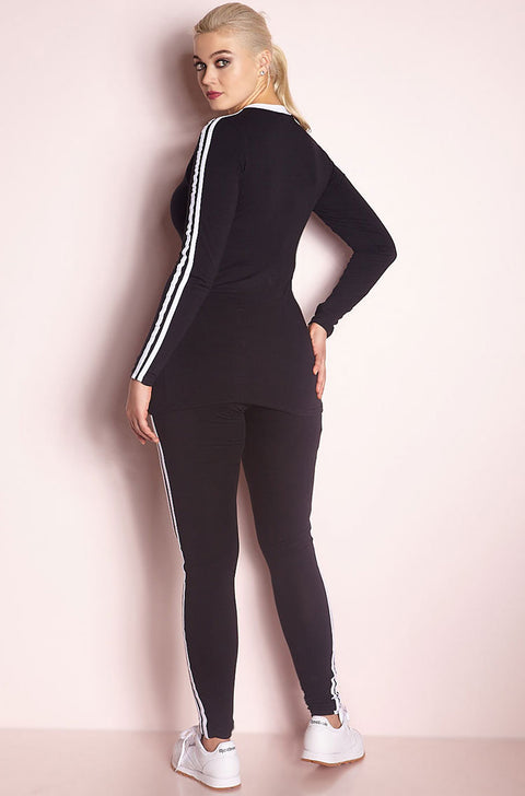 Black Long Sleeve 2 Striped Top plus sizes