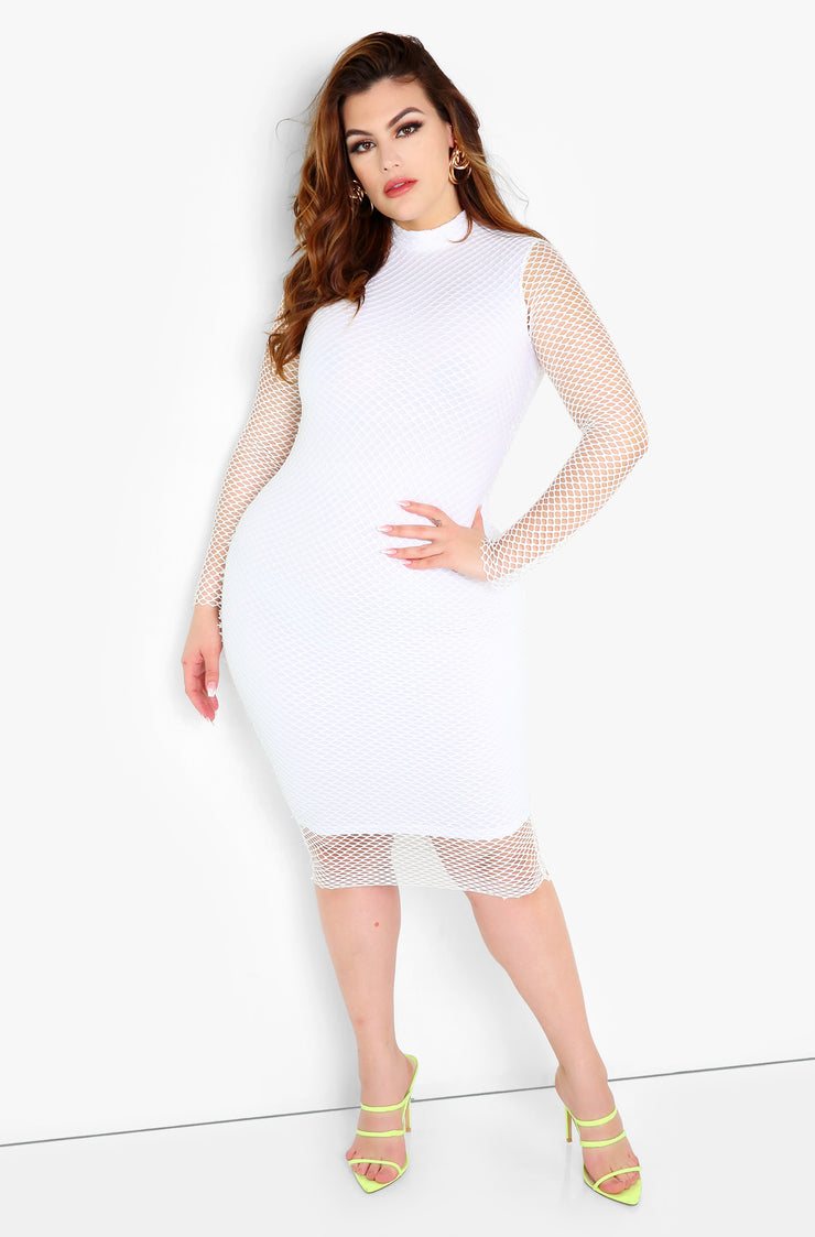 White Fishnet Long Sleeve Midi Dress Plus Size