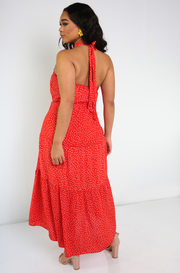 Red Polka Dot Halter Maxi Dress Plus Sizes
