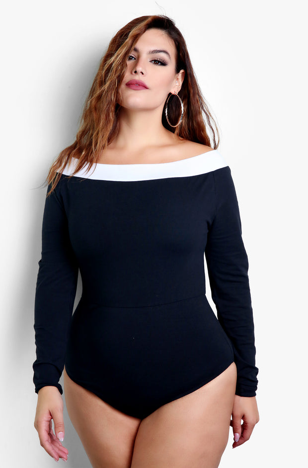 Black Two Tone Over The Shoulder Bodysuit Plus Sizes