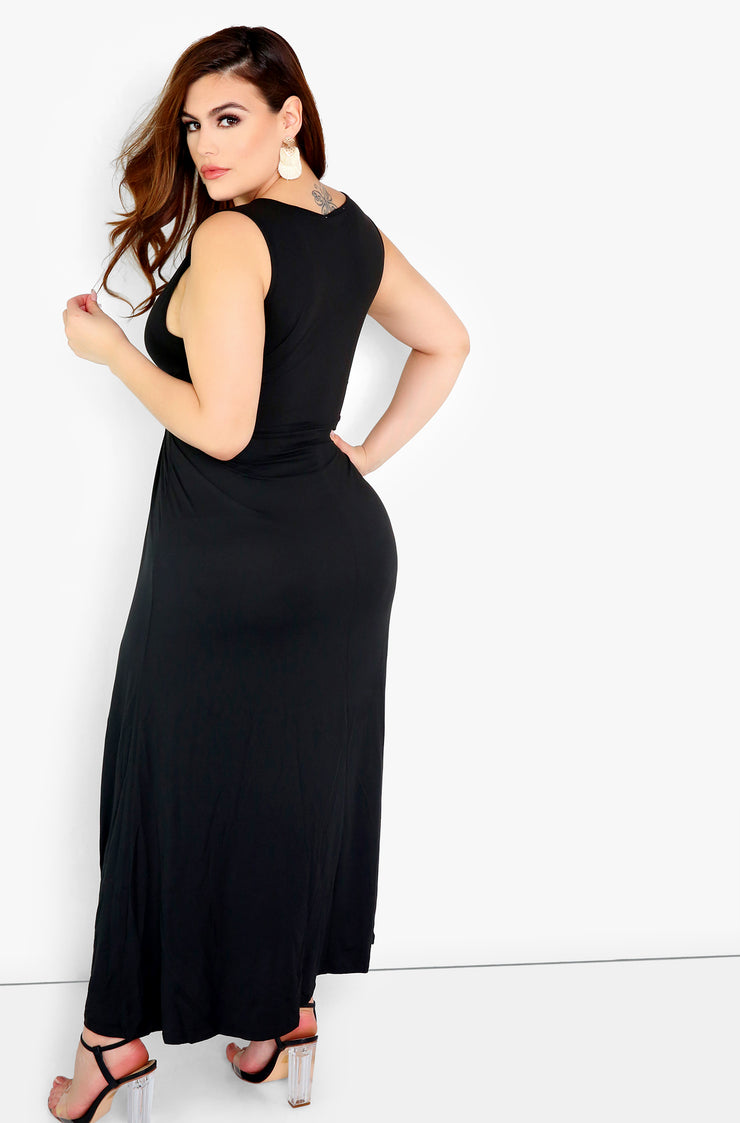 Black V-Neck Skater Maxi Dress Plus Sizes