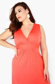 Coral V-Neck Skater Maxi Dress Plus Sizes
