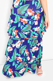 Green Ruffle Front Tie Maxi Dress Plus Size