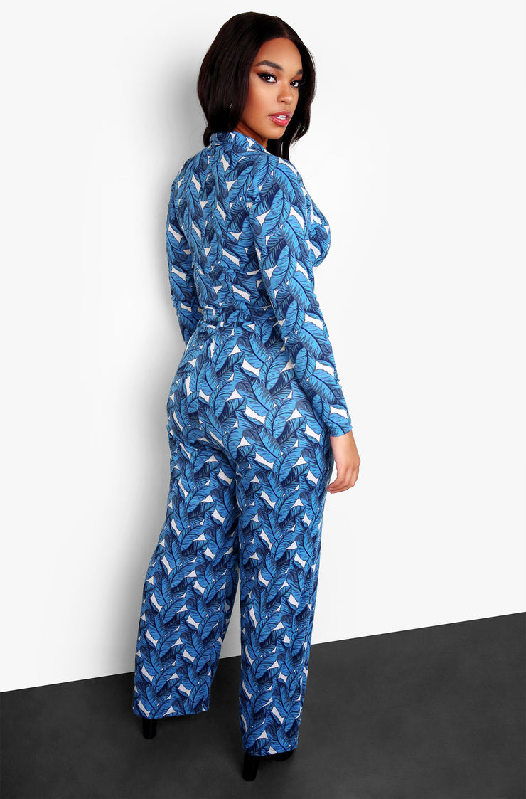 Blue Plus Size Collared V-Neck Top & Palazzo Pant Set