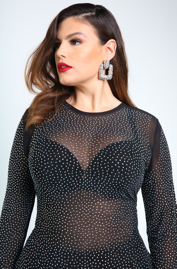 Black Studded Mesh Long Sleeve Midi Dress Plus Sizes