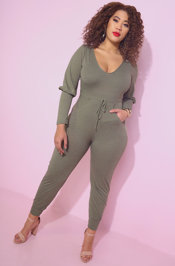 Olive Jogger Puff Sleeve Sporty Jumpsuit street style plus sizes
