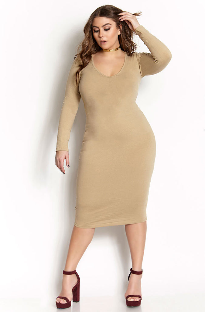 ... Clearance   Rebdolls Essential Long Sleeve V-Neck Midi Dress - Nude - FINAL  SALE. Nude 4c5bbc04b