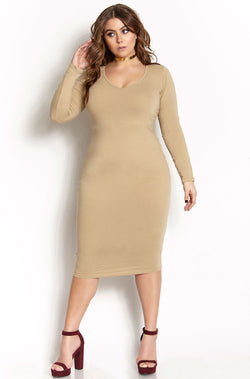 Nude  Essential Long Sleeve V-Neck Bodycon Midi Dress plus sizes