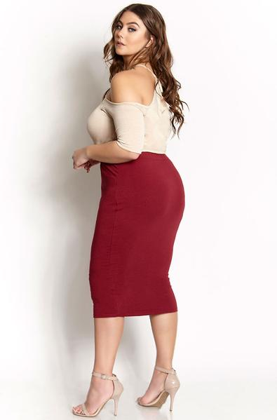 Burgundy Essential Cotton Bodycon Midi Skirt Plus Sizes