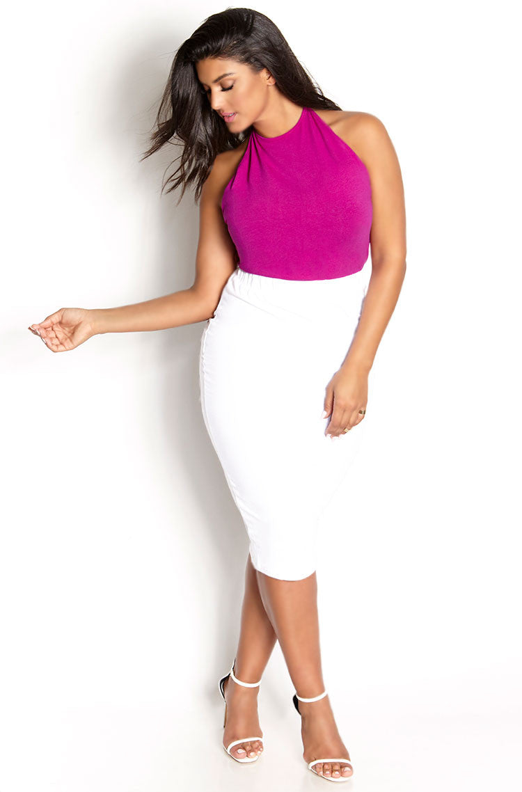 White Essential Cotton Bodycon Midi Skirt Plus Sizes