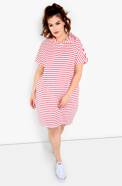 Red Hooded Lounge Dress Plus Sizes