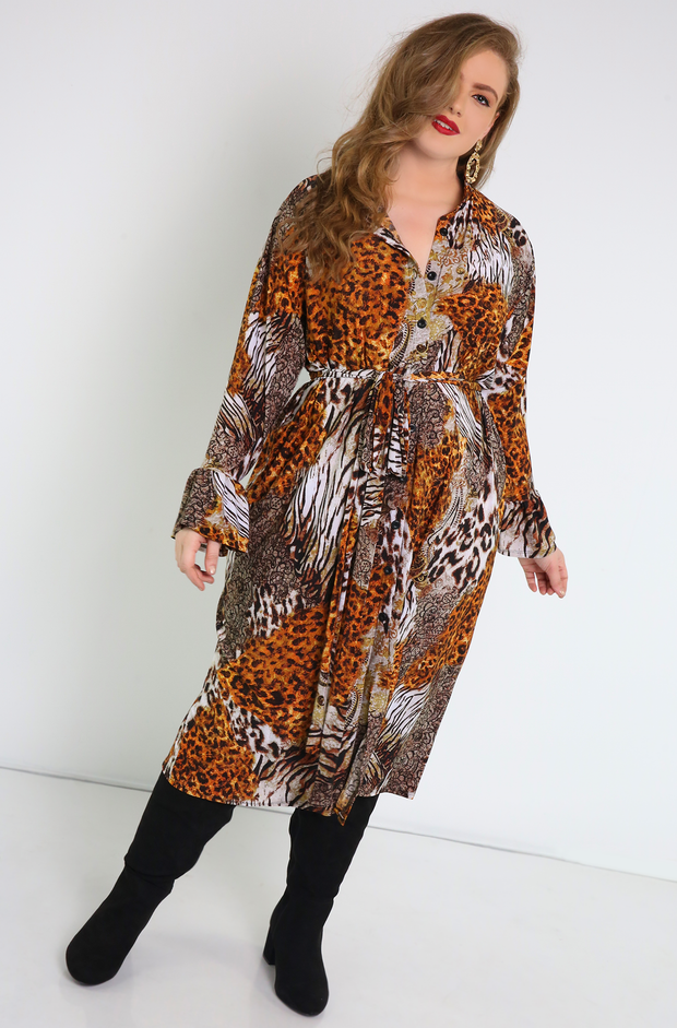 Brown Animal Print Button Down Maxi Dress Plus Sizes