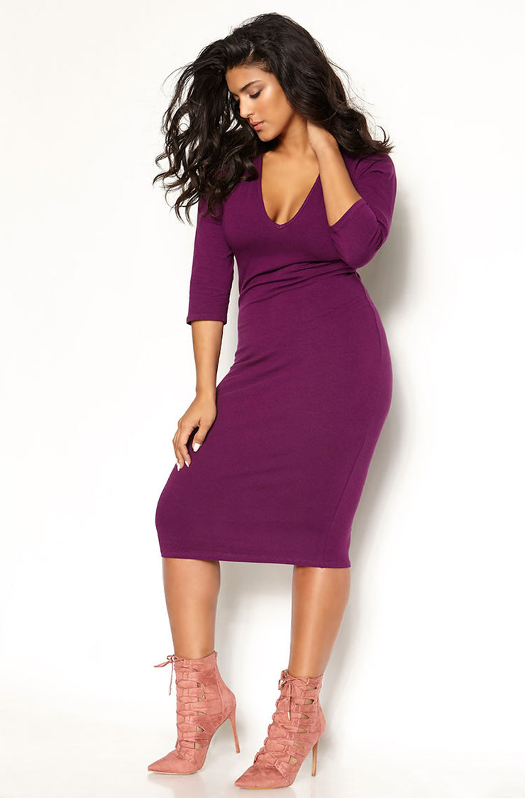 Purple Essential 3/4 Sleeve V-Neck Bodycon Midi Dress Plus Sizes