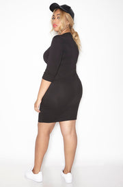 Mustard Essential 3/4 Sleeve Crew Neck Bodycon Mini Dress plus sizes