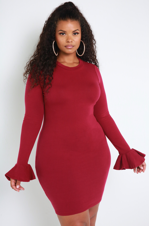 Burgundy Essential Bell Sleeve Mini Dress Plus Sizes