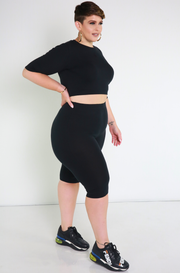 Black Essential Bermuda Leggings Plus Sizes