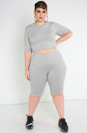 Gray Essential Crew Neck Crop Top