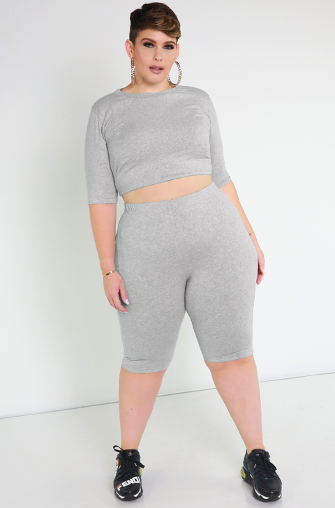 Gray Essential Bermuda Leggings Plus Sizes