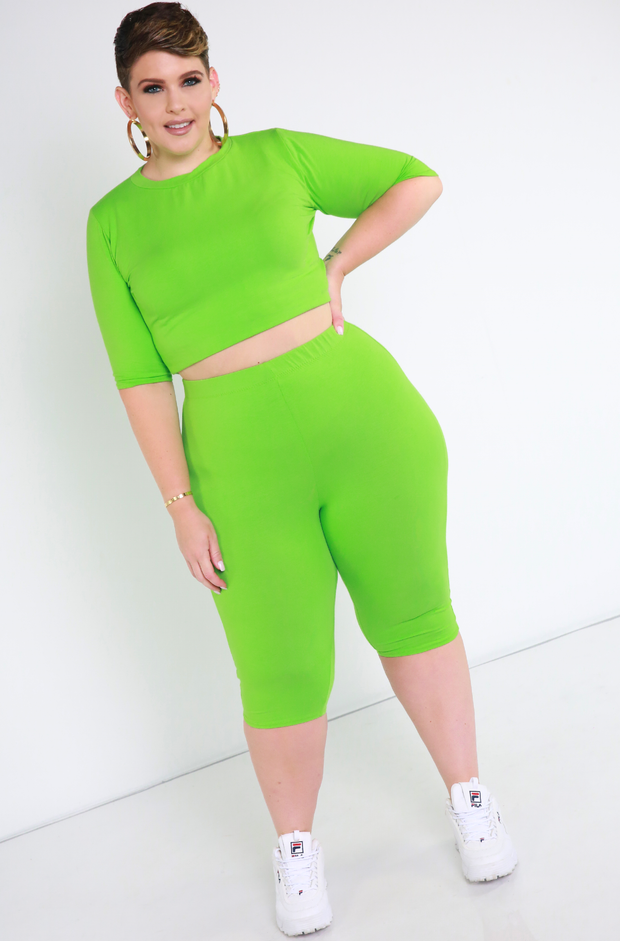 Lime Green Essential Bermuda Leggings Plus Sizes