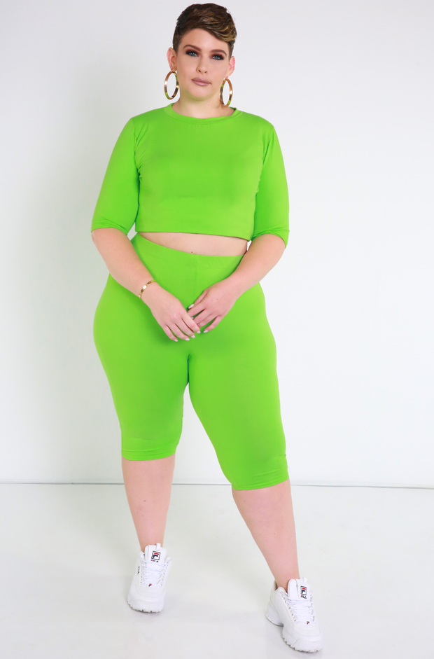 Lime Green Essential Crew Neck Crop Top Plus Sizes