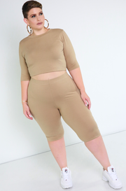 Nude Essential Crew Neck Crop Top Plus Sizes