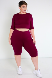 Burgundy Essential Crew Neck Crop Top Plus Sizes