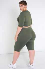 Olive  Essential Crew Neck Crop Top Plus Sizes