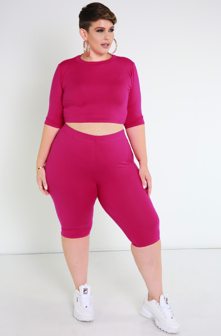 Fuchsia Essential Crew Neck Crop Top Plus Sizes