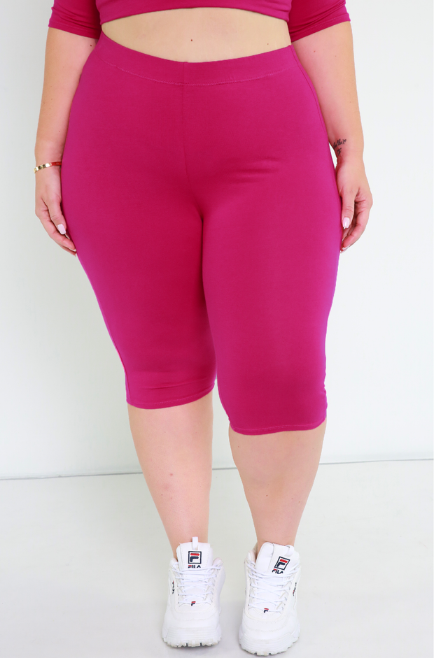 Fuchsia Essential Bermuda Leggings Plus Sizes