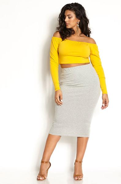 Heather Gray Essential Cotton Bodycon Midi Skirt Plus Sizes